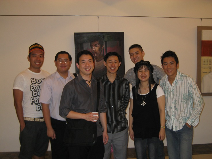 Mr Tham Zi Sheng (2nd from left), Mr Toh Ban Sheng (4th from left) and Ms Charmaine Chiang (2nd from right) attending a choir alumni event in 2008
