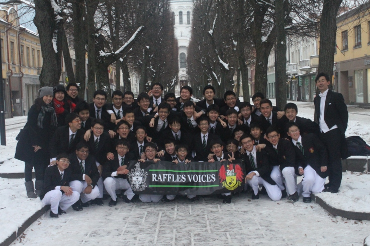 Raffles Voices celebrate their win in Lithuania (2012)