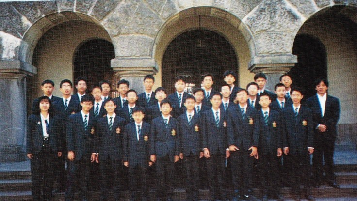 Ms Charmaine Chiang (front row, left) with Raffles Voices in Spain (1994)