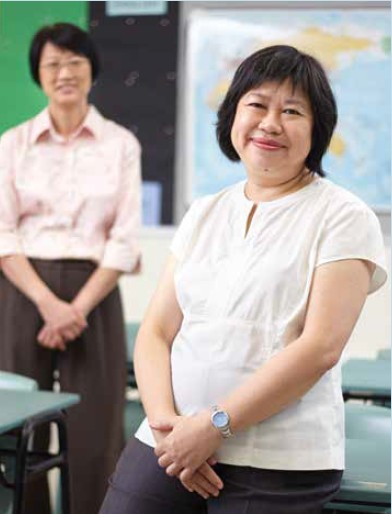 Ms Koo Mee Ling (background) and Mrs Tan Mui Hong (foreground)