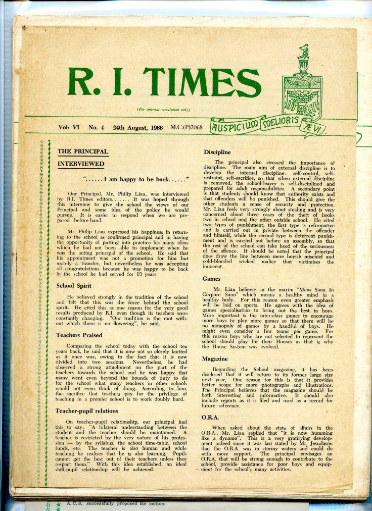 Rafflesian Times, 24 August 1966