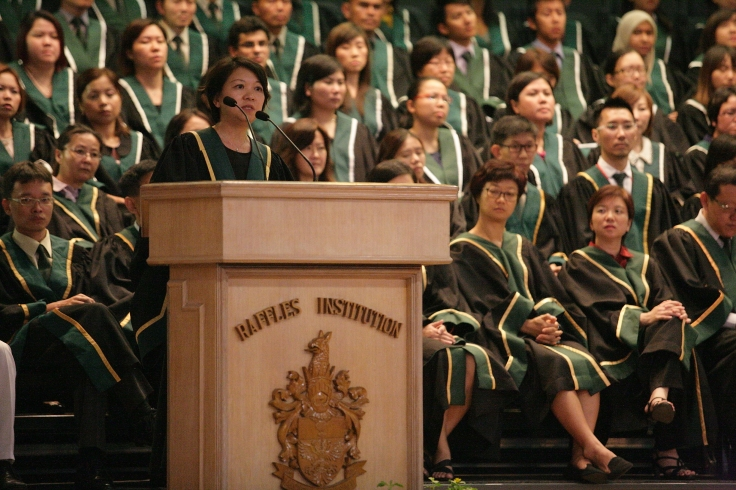 Mrs Lim addresses the school at Prize-Giving Ceremony 2013