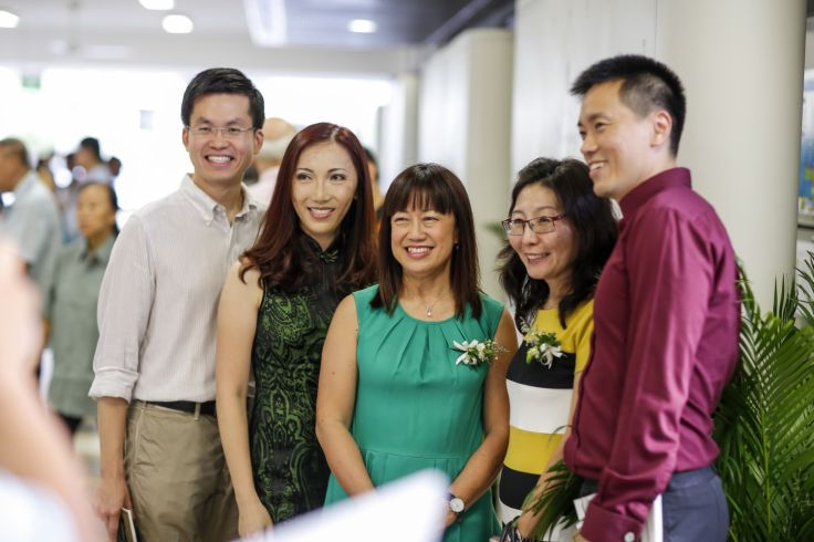 Alumni with some of their favourite teachers from the early 1990s: Ms Constance Chew (second from left), Mrs Lim Jee Nee, and Ms Ivy Tan