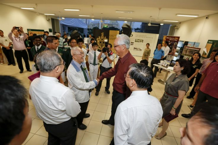 Moment of reunion: ESM Goh (RI, 1960) is warmly greeted by his former teacher Mr Ng Fook Kah (RI, 1950)