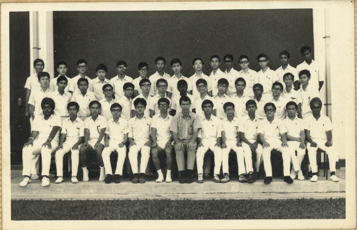 Mr Chan's Secondary 4 class with their form teacher Mr Kovac in 1972
