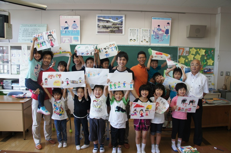 With a class of Grade 1 children at Sahara Elementary School in Fukushima Prefecture during Project YUME