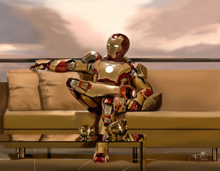 Drawing of Iron Man, which was selected for the first Mobile Art Exhibition in Palo Alto, California