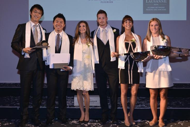 Joshua (far left) receiving the EHL Spirit Award at his graduation ceremony in 2013