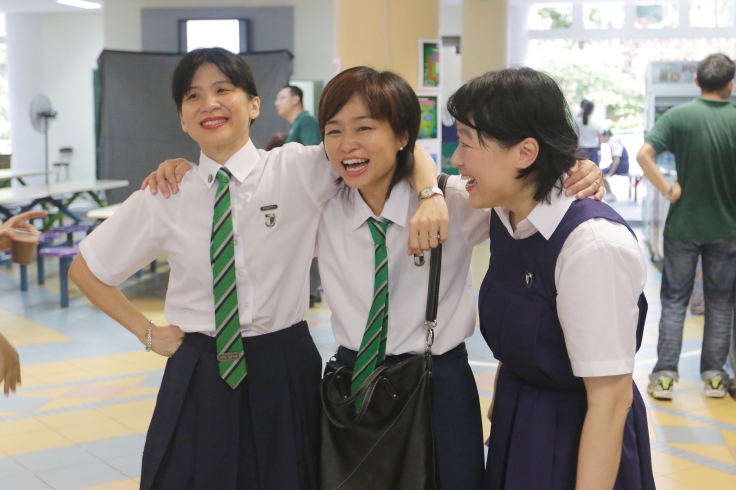 Alumnae in their school uniforms - it's like they never left!