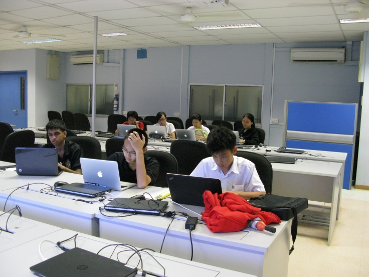 A joint training session for the National Olympiad in Infomatics, involving members from RGS Robotics, RI (Year 1-4)'s Infocomm Club and RI (Year 5-6)'s Raffles Computer Science Club