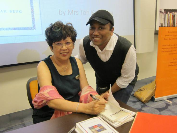 Mrs Toh Kah Beng and a former student at the book launch