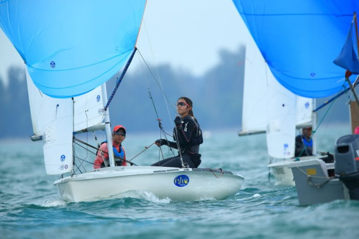 Yukie Yokoyama (15S03A)  sailing with her partner Samantha Neubronner (15SO3Q)