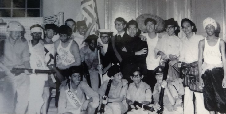 Malaysia Day Celebrations, 1964: L to R, Cadets in uniform Rohmat, Bala, Chan Shelt Tsong, Hakim and Ho Tew Hong