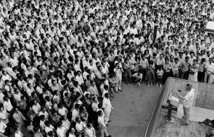 Mr Lee speaking to a packed lunchtime rally crowd at Fullerton Square in Singapore on Dec 20 1976 Agence France-Presse/ Getty Images/New Nation